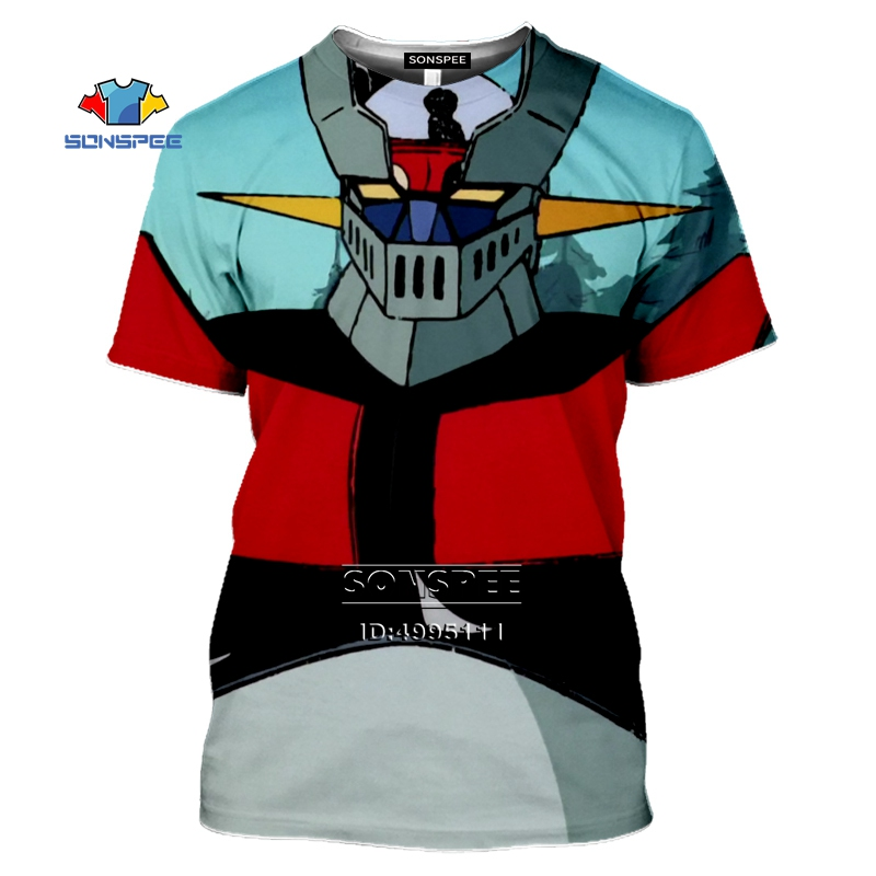 <font><b>Mazinger</b></font> <font><b>Z</b></font> <font><b>T</b></font> <font><b>shirt</b></font> Men Anime 1975 3D Print Men's <font><b>T</b></font>-<font><b>Shirts</b></font> Women Summer O-neck Tshirt Harajuku Casual Hip Hop Tops Short Sleeve image