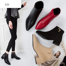 Women Boots Casual Leather Low High Heels Spring Shoes Woman Pointed Toe Rubber Ankle Black Red Zapatos Mujer Plus Size 35-42(China)