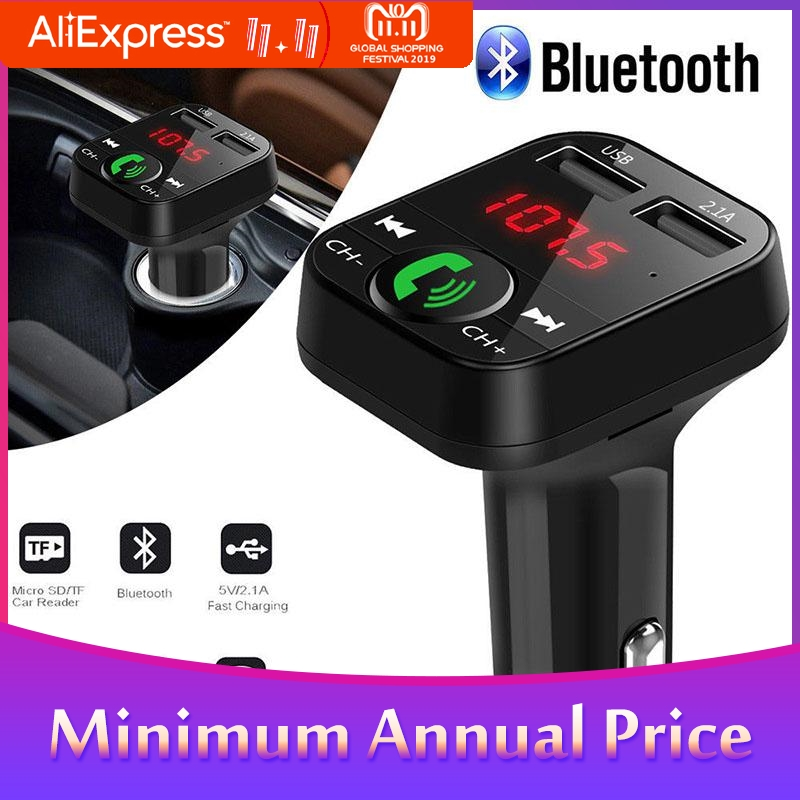 Hands Free Car Kit Wireless Bluetooth FM Transmitter MP3 Player LED Dual USB 2.1A Car Micro SD TF Music Player R29