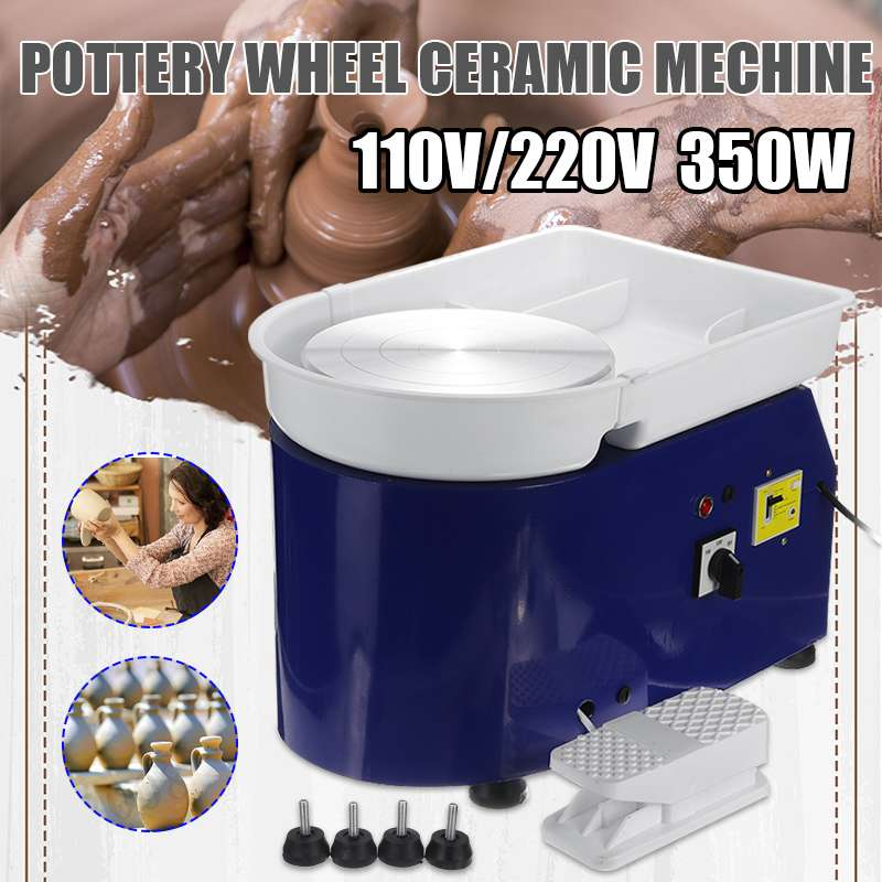 Pottery Forming Machine 350W Electric Pottery Wheel 110V-220V DIY Clay Tool with Tray Flexible Foot Pedal For Ceramic Work