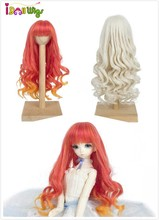 Hot sale! bjd 1/3 Heat Resistant Synthetic baby doll wig hair Ice orange&silver Gray Mixed Wavy with bangs for dolls wigs