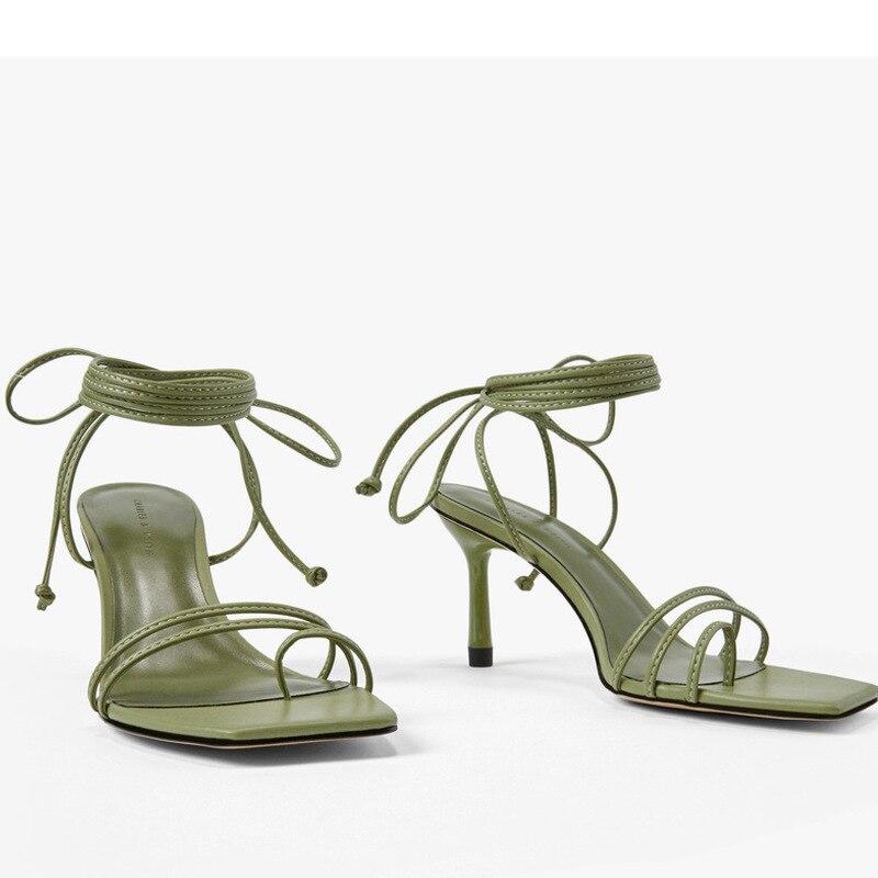 2020 Summer Retro High Heels Stiletto Sandals Women Ankle Strap Back Lace-up  Pumps Pinch-up Toe Women Sandals