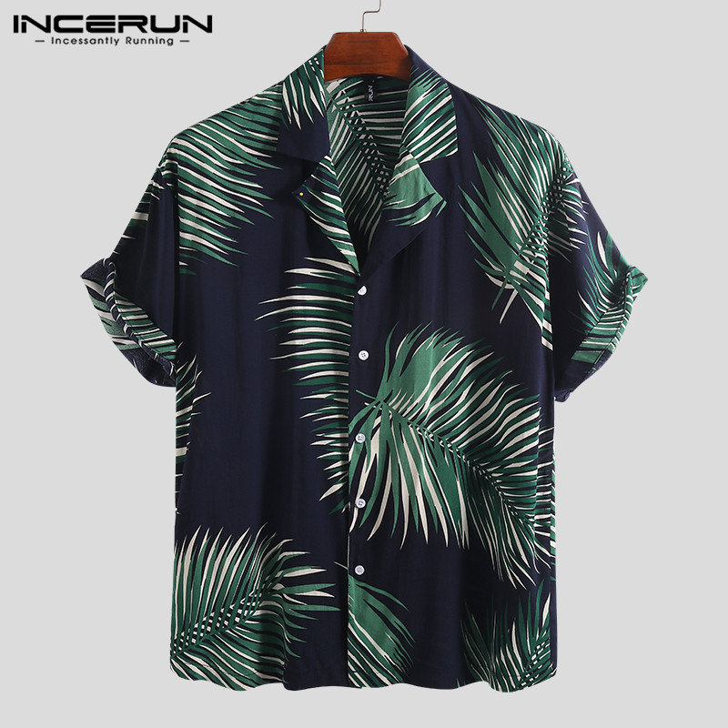 INCERUN Printing Men Hawaiian Shirt Casual Summer Lapel Neck Short Sleeve Blouse Fashion Beach Shirts Men Camisa Masculina 2020