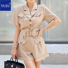Womens Summer 2020 Romper Shorts Office Fashion Suit Collar Short Sleeve Pocket Single-breasted Belted Regular Fit Jumpsuits plus shawl collar belted plaid romper