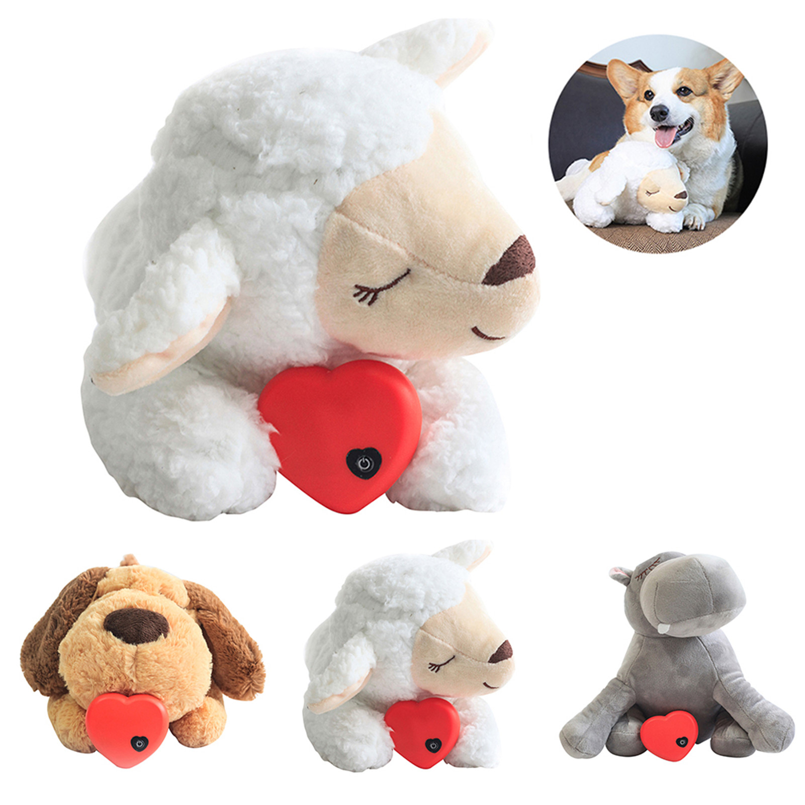 Wholesale Dog Toy Plush Toy Comfortable Behavioral Training Aid Toy Heart Beat Soothing Heating Plush Doll Sleep For Dogs Cats