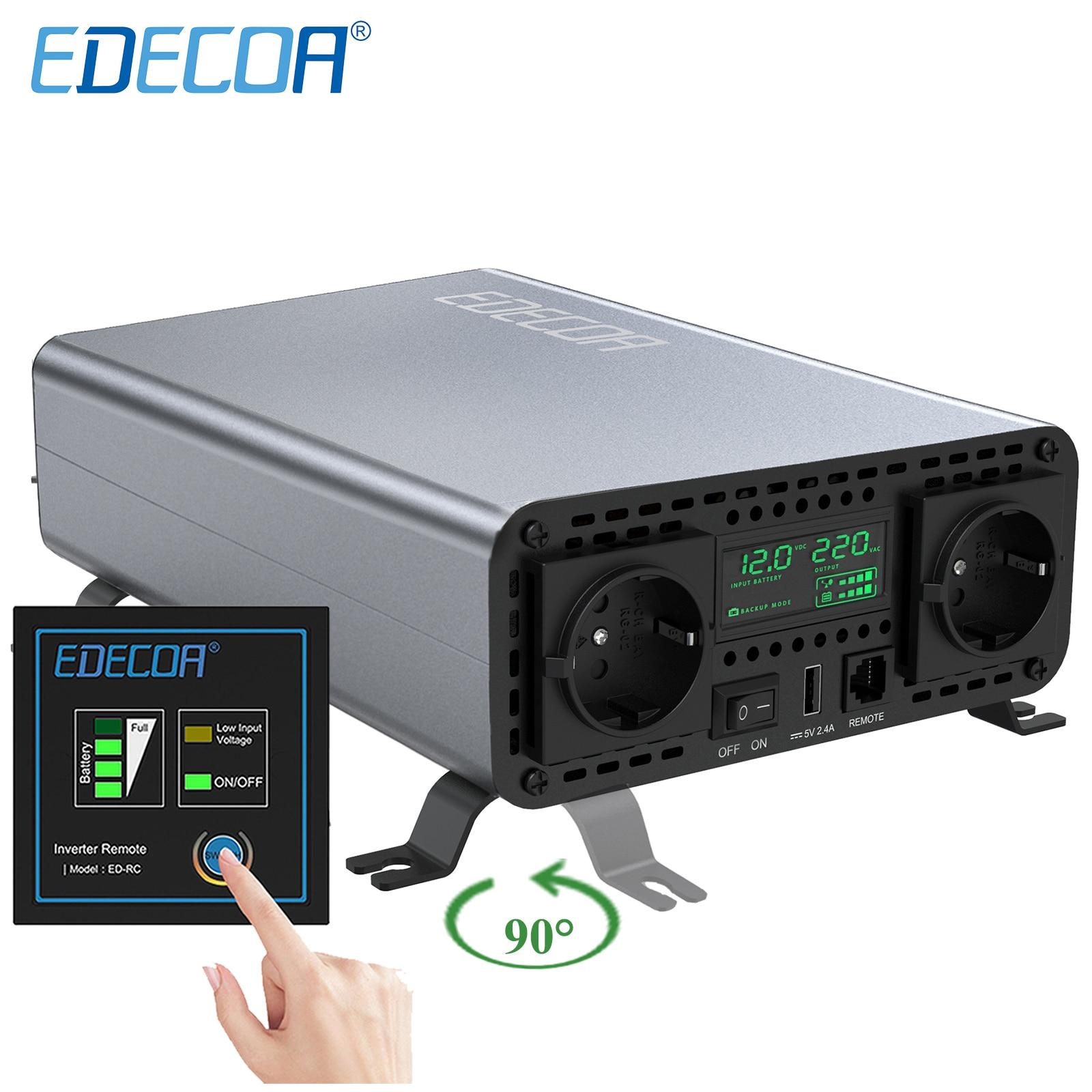 New Arrival 2.0 Edecoa 2000W 4000W Modified Sine Wave Converter Dc 12v To Ac 220v 230v Power Supply 2000 Watt Off Grid Inverter