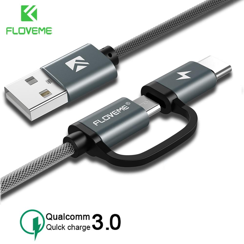 Кабель FLOVEME USB с 2 адаптерами Type-C и Micro для телефонов Android, 3A, 1 м