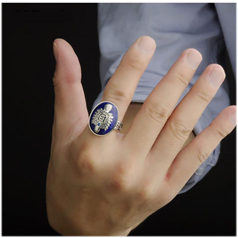 Le Vampire Diaries anneaux réel 925 argent Sterling Damon Salvatore bague hommes avec Lapis Lazuli gemme pierre naturelle bijoux fins - 6