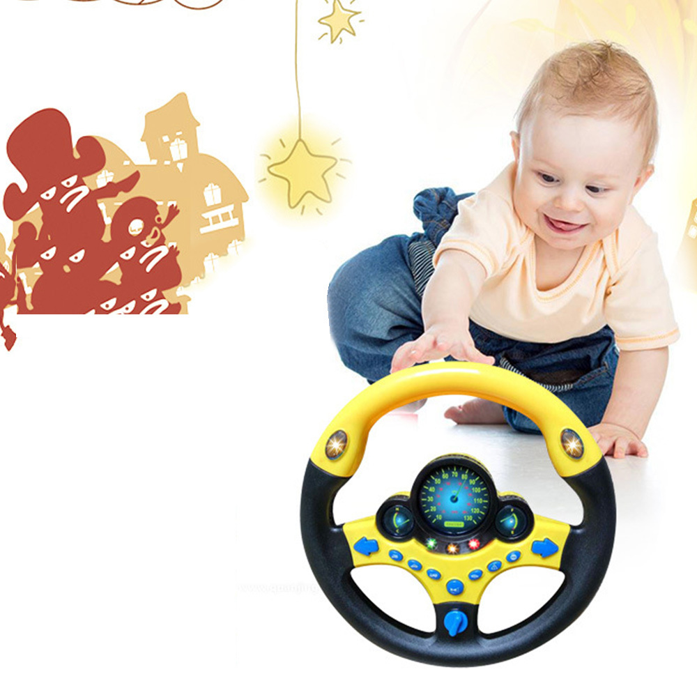 New Simulation Steering Wheel With Light  Baby Musical Developing Educational Toys Electronic Vocal Toys For Children Birthday