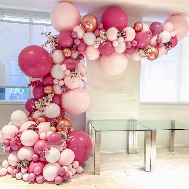 DIY Retro Dusty Pink Balloon Garland Arch Kit Rose Gold White Balloons for Birthday Baby Shower Weddings Party Home Decorations