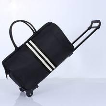 Pasiasta torba podróżna wodoodporna nylonowa torba Trolly dla podróżujących mężczyzn torby podróżne składana walizka na kółkach XA225C