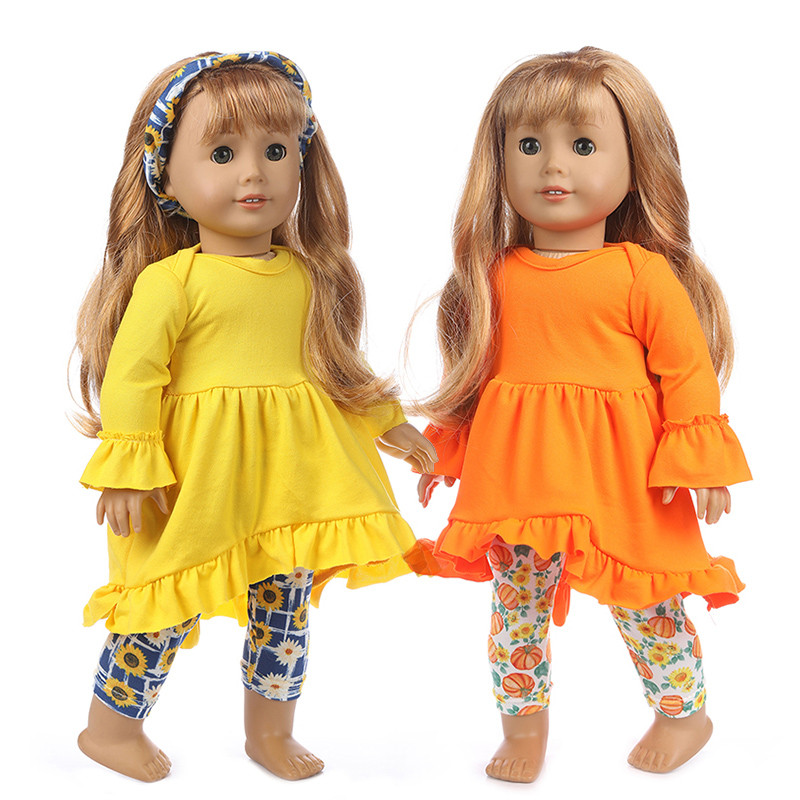 Fit 18 Inch 43cm Baby New Born American Doll Girl Clothes Pink Red Yellow European And American Clothing For Baby Birthday Gift