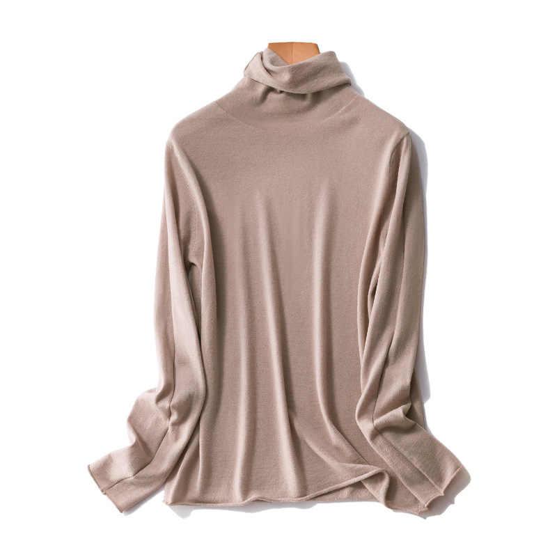Wanita 100% Wol Turtleneck Sweater dengan Roll Tepi Musim Gugur Musim Dingin Polo Neck Jumper