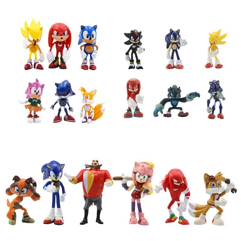 6 шт./компл. игровые куклы Sonic the Hedgehog майль Prower Mario, модель из ПВХ, фигурки, игрушки для детей, подарок