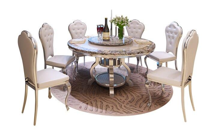 table a manger ronde en marbre moderne et simple en acier inoxydable pour 10 personnes table a manger et chaise