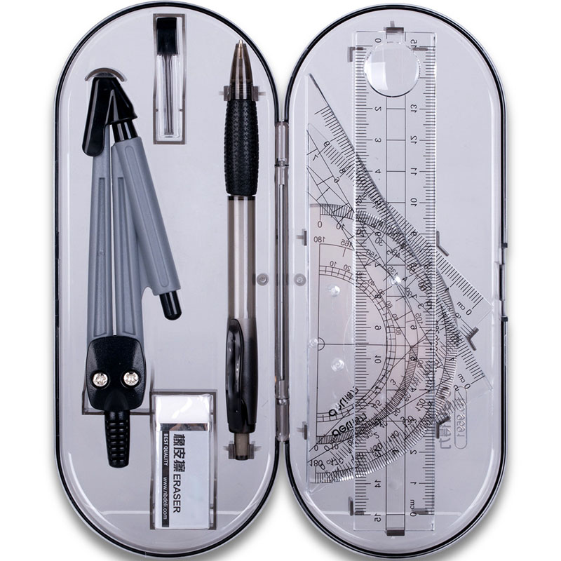 1 Set Portable School Math Geometry Set Protractor Drawing Compass Ruler Pencil Essentials Math Study Tool Kit With Storage Boxs