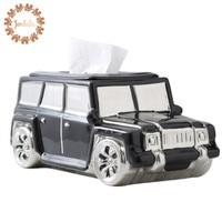 Creative Ceramic Car Truck Tissue Holder Cassette Paper Holder Wine Holder Living Room Coffee Table Decoration Apple Best Gift