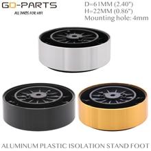 61*23mm במכונה אלומיניום פלסטיק רמקול ספייק רצפת רגליים בסיס כרית מחצלת רגל Stand עבור Hifi פטיפון AMP CD DAC מקליט 4PC