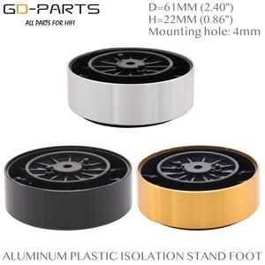 Image 1 - 61*23mm במכונה אלומיניום פלסטיק רמקול ספייק רצפת רגליים בסיס כרית מחצלת רגל Stand עבור Hifi פטיפון AMP CD DAC מקליט 4PC