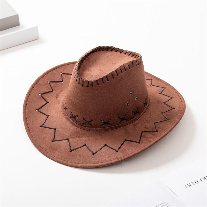 Children's Red Felt Cowboy Hat Adult Cosplay Outdoors Sun Hat