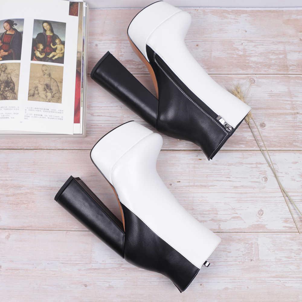 WETKISS Size Lớn 15Cm Cao Cấp Gót Giày Nữ Phối Màu Cổ Chân Giày Dày Giày Đế Người Phụ Nữ Gót Dày boot Mùa Đông