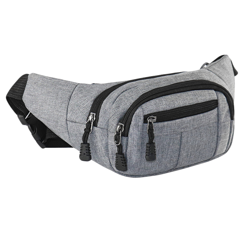 Fashion Unisex Waist Packs Hip Bag Women's Waist Band Banana Waist Bags Waist Bag Men Women Gray