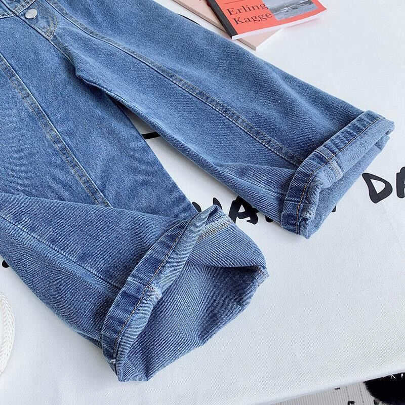 Girls Wide-legged Jeans Spring And Autumn Children Loose Straight Soft Denim Pants Chubby Kid High Waist Jeans 6