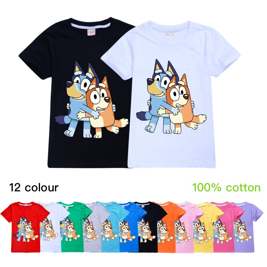 Clothes for Big Kids Summer T Shirt boy Tops Cotton Cute <font><b>Dogs</b></font> Bingo Bluey Animal Print Suit Little Girls Clothing Toddler <font><b>Tshirt</b></font> image