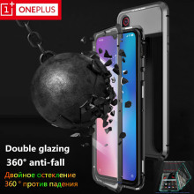 Original for OnePlus 7 case Double-sided metal magnetic oneplus 6 6t 7pro glass 360° protection cover.