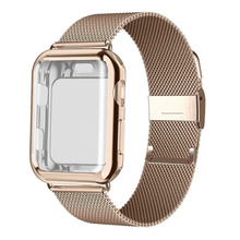 купить Case+strap for Apple Watch Band 44 mm 40mm iWatch band 42mm 38mm Stainless Steel Milanese Loop bracelet Apple watch 4 3 5 2 1 дешево