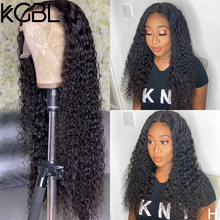 KGBL Natural Color Curly 13x4 Lace Front Human Hair Wigs 180% Density Non-Remy For Women 8-24'' Pre-Plucked Brazilian Medium
