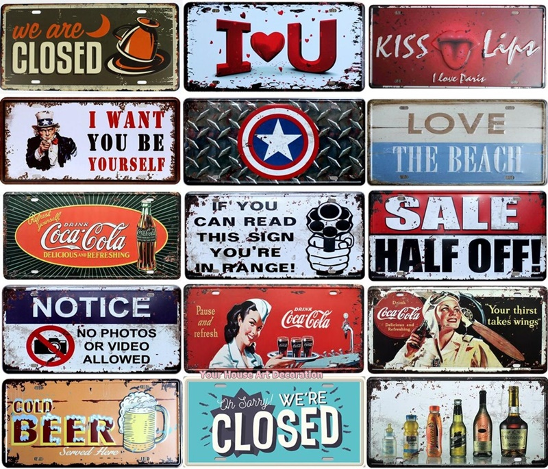 Cola Vintage CAR Decorative License Plate Metal Tin Signs Bar Pub Home Beach Wall Decor Picture Plaque Iron Craft Paintings image