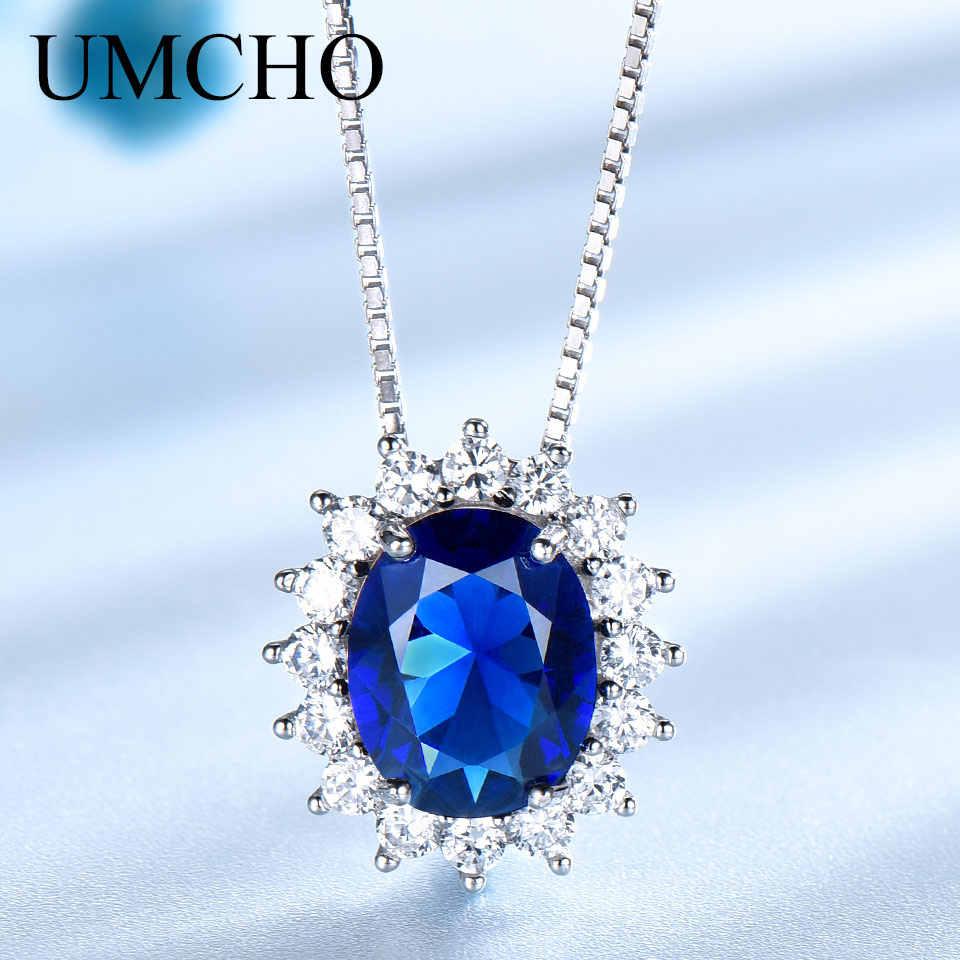 Umcho Xanh Sapphire Dây Chuyền Mặt Dây Chuyền Công Nương Diana Chính Hãng Nữ Bạc 925 Mặt Dây Chuyền Đá Quý Cho Nữ Dự Tiệc Cưới Quà Tặng