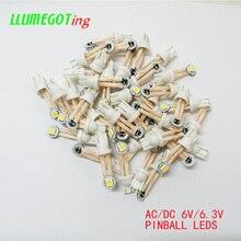 50 個 194 T10 #555 ウェッジベース可撓性ワイヤさまざまな色非極性ac dc 6v 6.3vピンボールゲーム機led電球