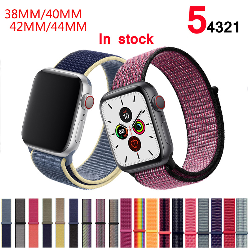 Band For Apple Watch Series 5/4/3/2/1 38MM 42MM Nylon Soft Breathable Replacement Strap Sport Loop For Iwatch Series 40MM 44MM
