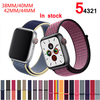 цена на Band For Apple Watch Series 5/4/3/2/1 38MM 42MM Nylon Soft Breathable Replacement Strap Sport Loop for iwatch series 40MM 44MM