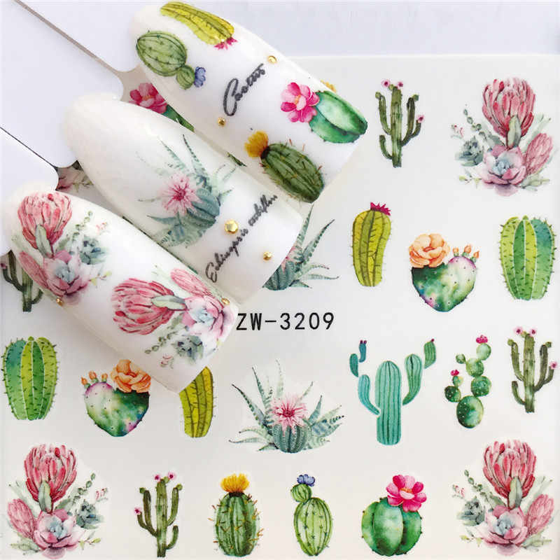 WUF 1 PC Cactus / Flamingo / Horse / Flower Water Transfer Nail Art Sticker Beauty Decal Nails Art Decorations