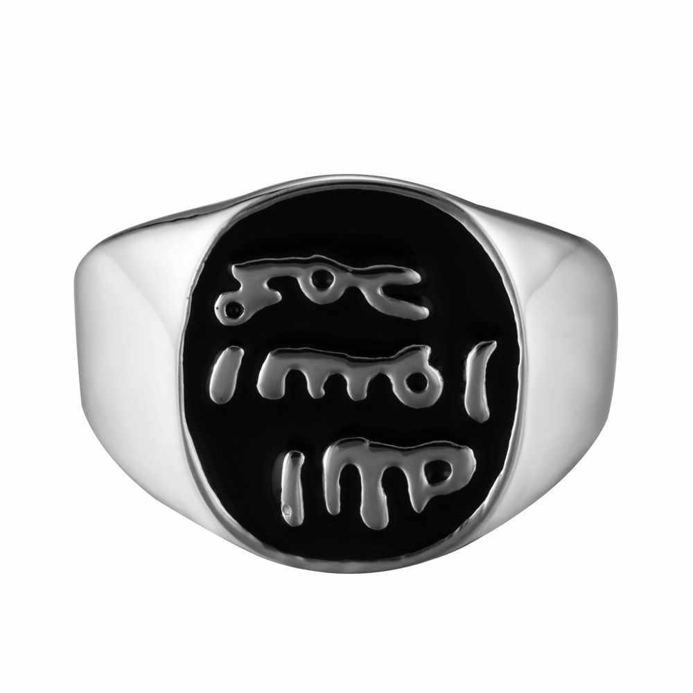 الإسلام الرجال خواتم الفضة الذهب اللون الفولاذ المقاوم للصدأ Signet ختم القوطية الزفاف الفرقة خاتم الخطوبة مجوهرات بسيطة QMHJE DCR001