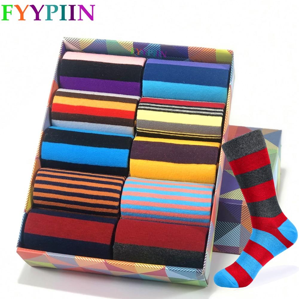 2020 Men's Socks New High Quality Brand Classic Striped Socks Cotton Colorful Happy Fashion Casual Dress Socks Men