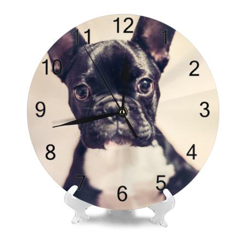 10Inch Round Wall-Clock Creative Pet Dog Pattern Numeral Digital Dial Mute Silent Non-Ticking Battery Operated Clocks Wall Deaor