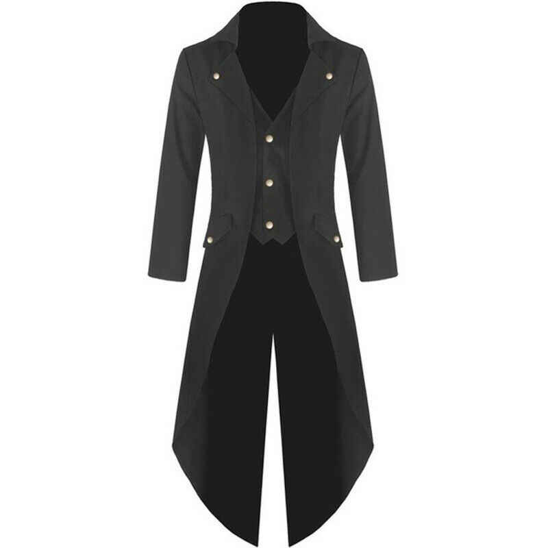 Fashion Punk Stijl Single-breasted Mannen Trenchcoat Vintage Gothic Lange Jas Retro Uniform Kostuum Slanke Geul Staart Jas mannelijke