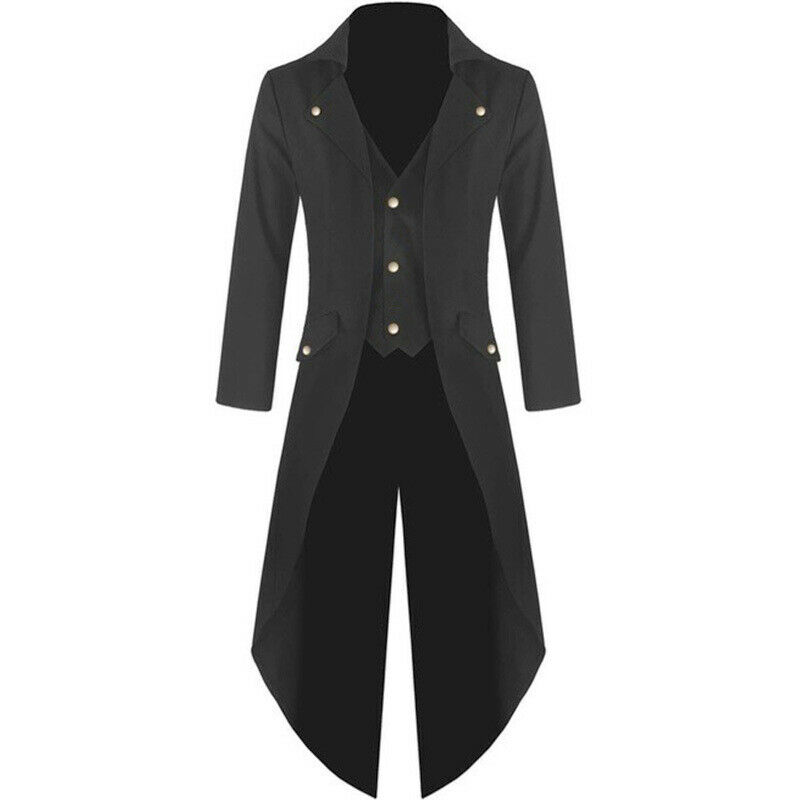 Fashion Punk Style Single-breasted Men Trench Coat Vintage Gothic Long Jacket Retro Uniform Costume Slim Trench Tail Coat Male