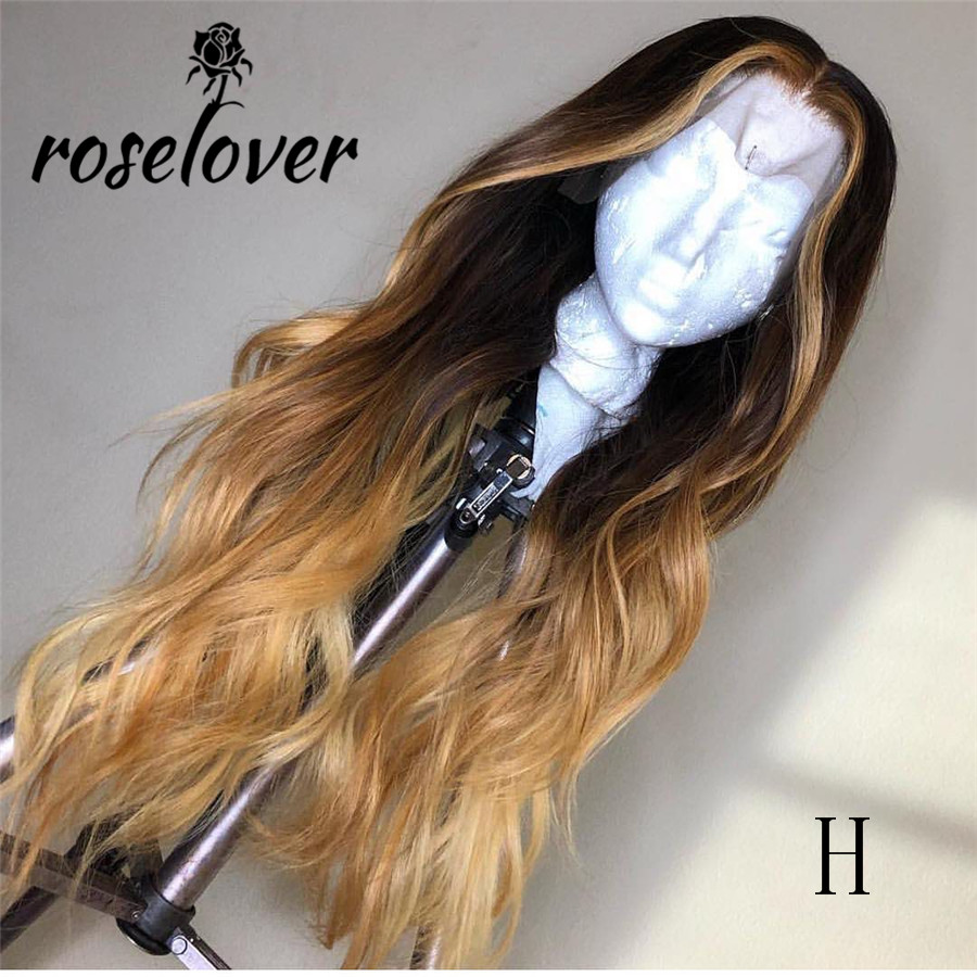 Lace Front Human Hair Wigs 1B/27 Colored Ombre Remy Brazilian Human Hair Wigs Natural Pre Plucked Hairline Wavy Wigs For Woman