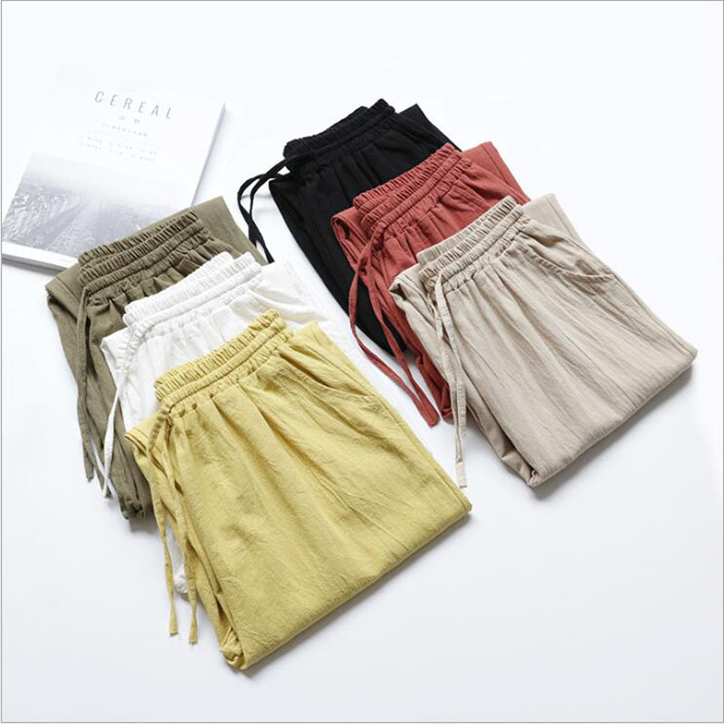 Women Summer Flax Ninth Pants Cotton and linen Trousers High Waist Lady's Loose and Comfortable Hot Girls' Casual Cloth Garments|Pants & Capris| - AliExpress