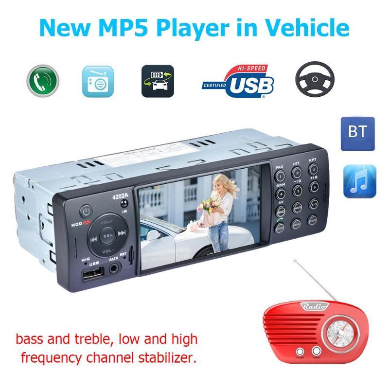 4202A 4.1 pouces autoradio Bluetooth MP5 lecteur TF AUX USB récepteur multimédia numérique sortie vidéo bidirectionnelle et fonction muet