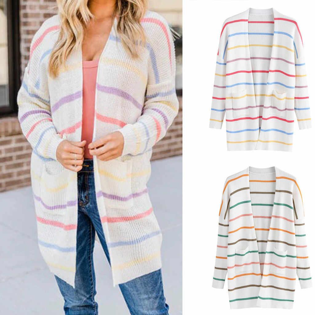 Радужный полосатый Женский Повседневный свитер, Осенний Вязаный Кардиган с длинным рукавом, Женское пальто на пуговицах, плащ с кисточками, свободная женская верхняя одежда