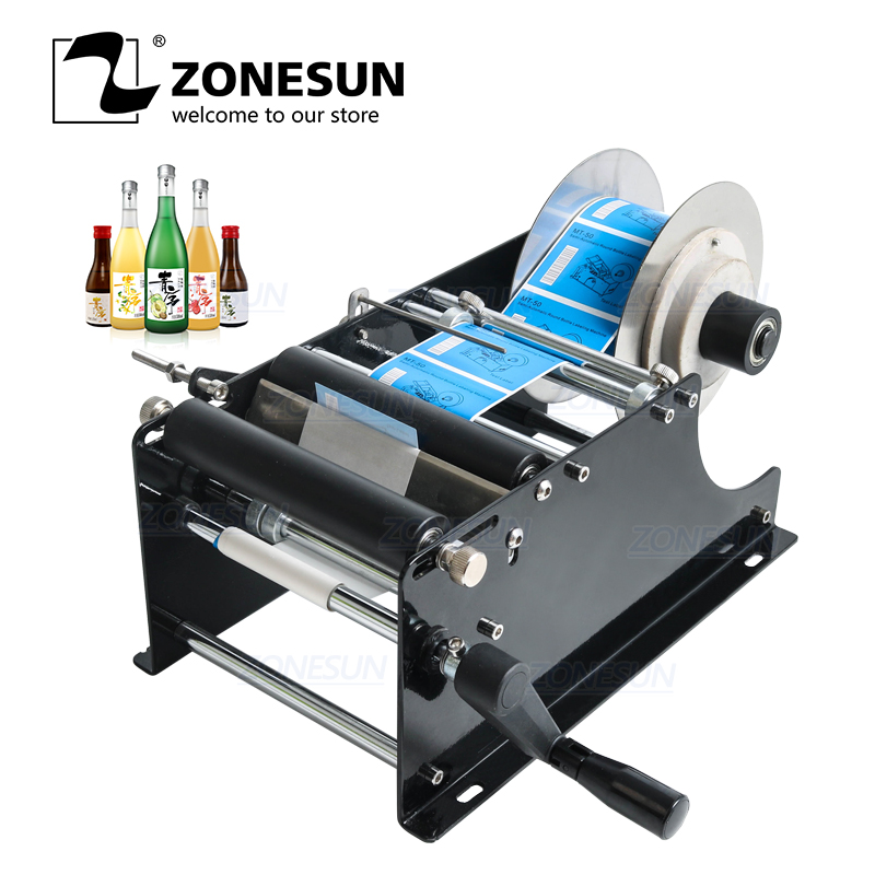 ZONESUN Manual Round Bottle Labeling Machine Beer Cans Wine Adhesive Sticker Labeler Applicator Packing Machine