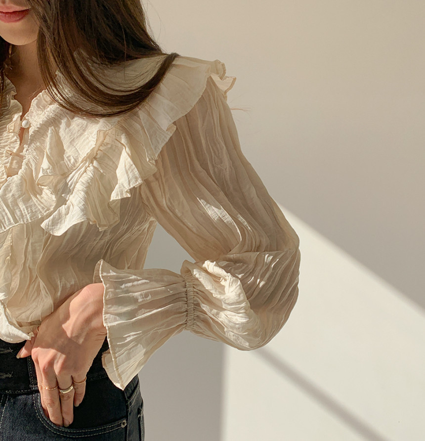 H121a1b6783814e2bbdd3176bf1159364C - Spring / Autumn V-Neck Long Sleeves Ruffles Pleated Solid Blouse