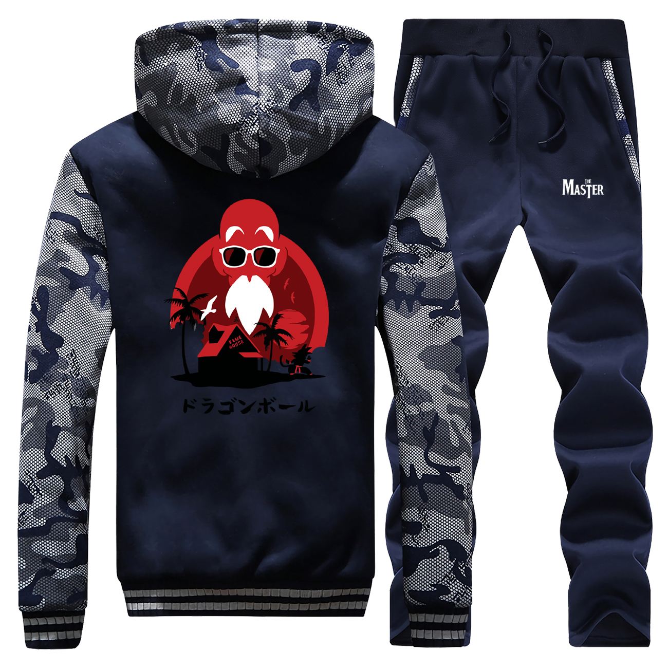 Funny Master Roshi Print Thick Sweatshirt Dragon Ball Z Men Hoodies Anime Mens Jacket+Pants 2 Piece Sets Casual Winter Warm Suit