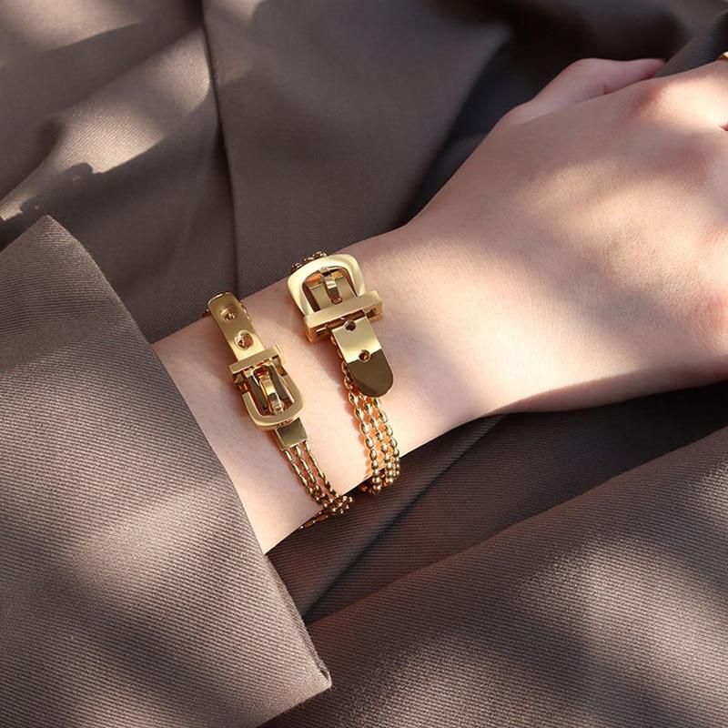 Amorcome с модной ременной Форма ремешок Шарм Золотой браслет в стиле панк из нержавеющей стали высокого качества с цепи браслеты для женщин, юв...